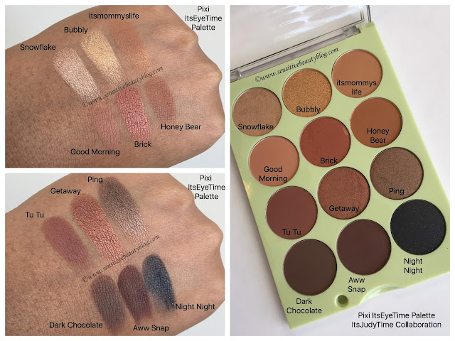 Pixi and Itsjudytime itseyetime palette swatches on dark skin