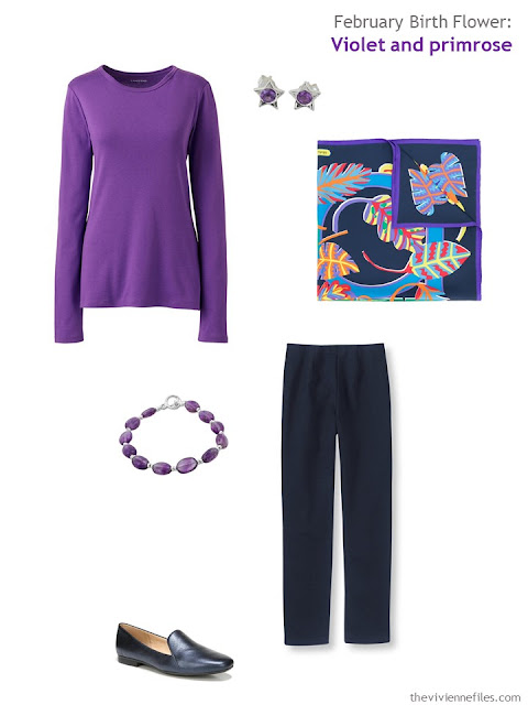 wearing violet with navy
