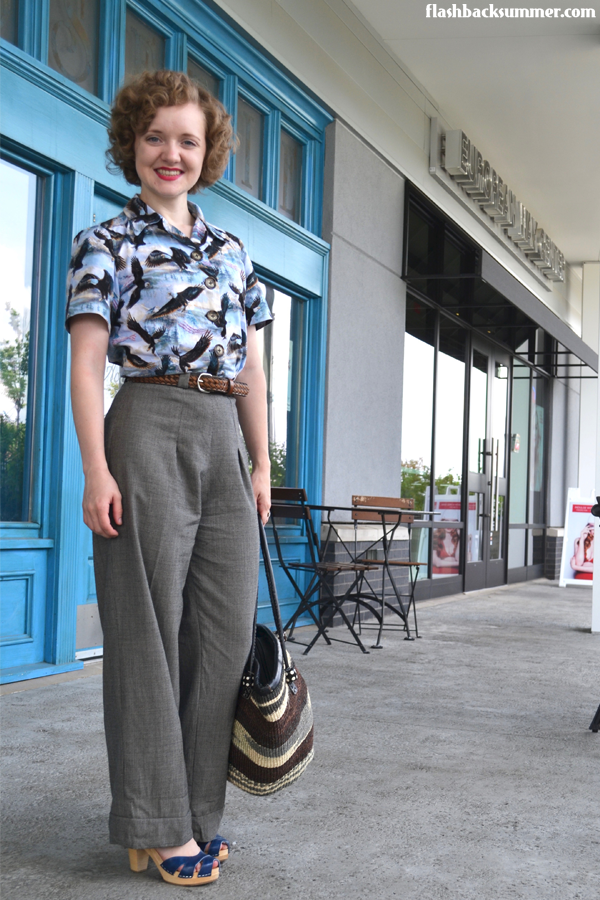 Flashback Summer: 'Merica Eagle Muslin - 1940s button down blouse shirt outfit
