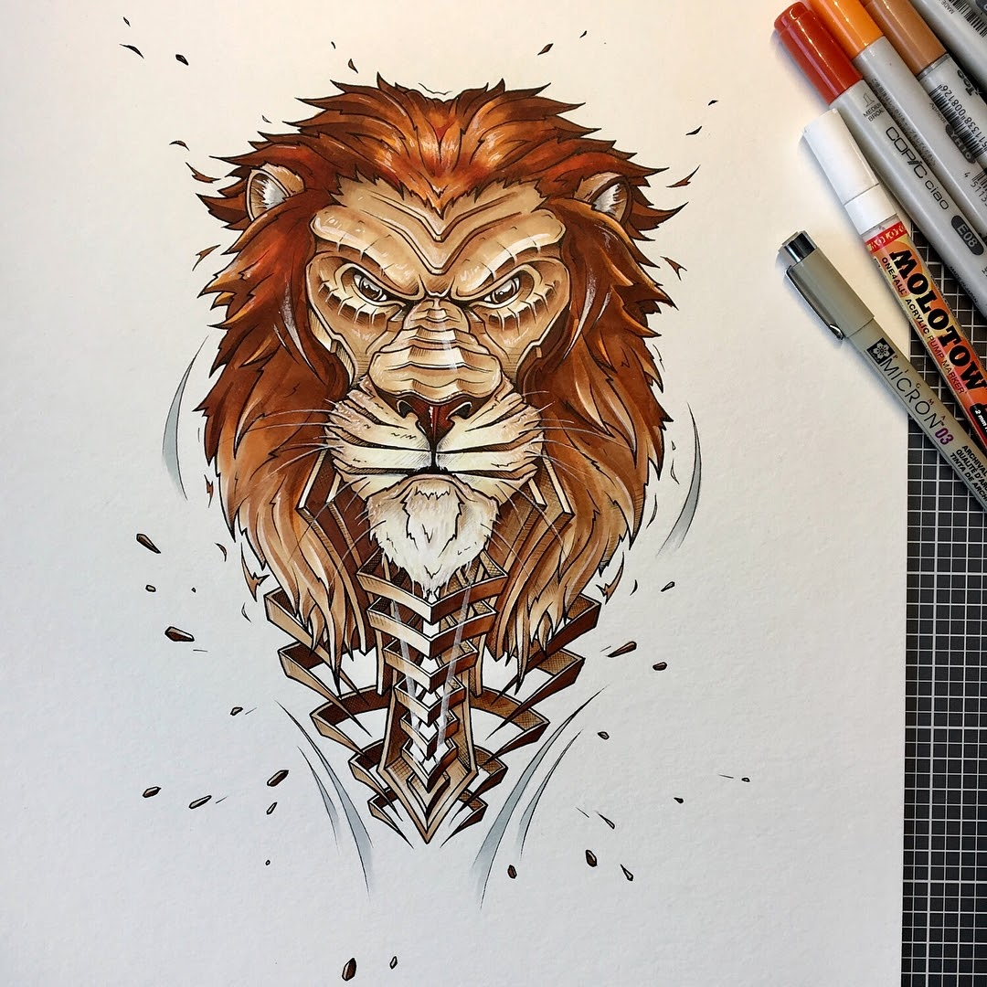 08-Lion-JAYN-ABS-Crew-Slice-Animal-Portraits-Stylised-Looks-www-designstack-co