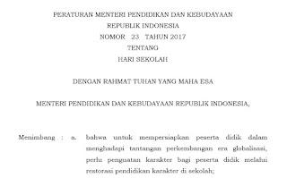Peraturan Menteri Pendidikan Dan Kebudayaan Republik Indonesia Nomor 23 Tahun 2017 Tentang Hari Sekolah