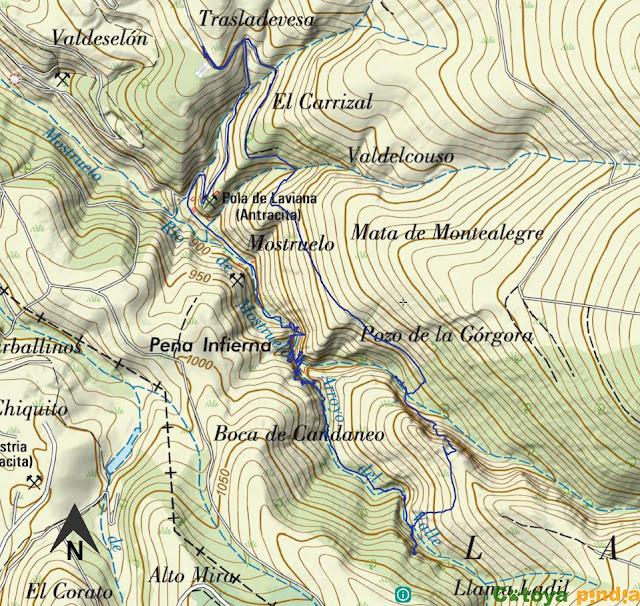 Mapa señalizado de la ruta los Cañones del Górgora