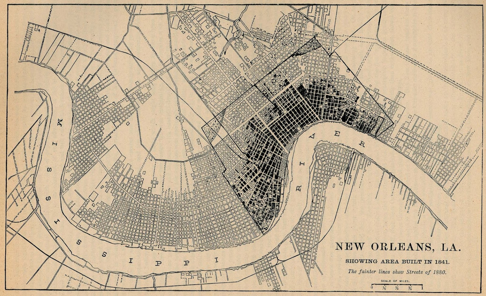the shape of the original french quarter is clearly visible then on either side similar street layouts are visible as new orleans expanded with the