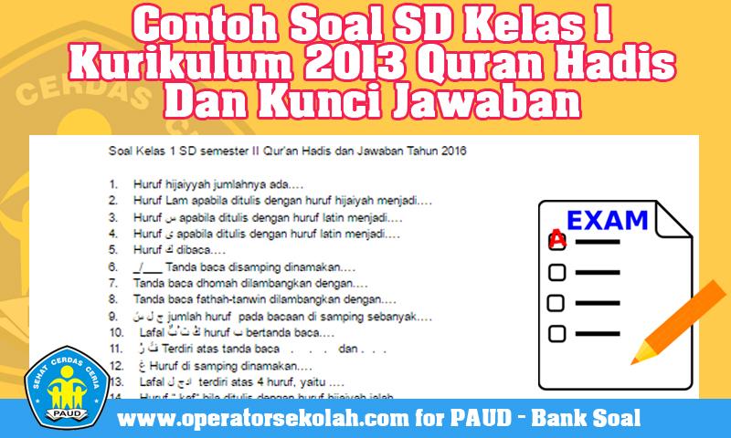 Contoh Soal SD Kelas 1 Kurikulum 2013 Quran Hadis Dan Kunci Jawaban