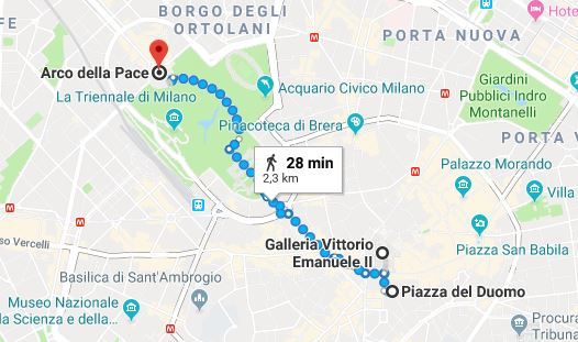 L'itinerario a piedi che porta da piazza Duomo all'Arco della Pace