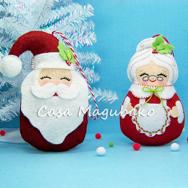Santa and Mrs Claus Ornaments by casamagubako.com