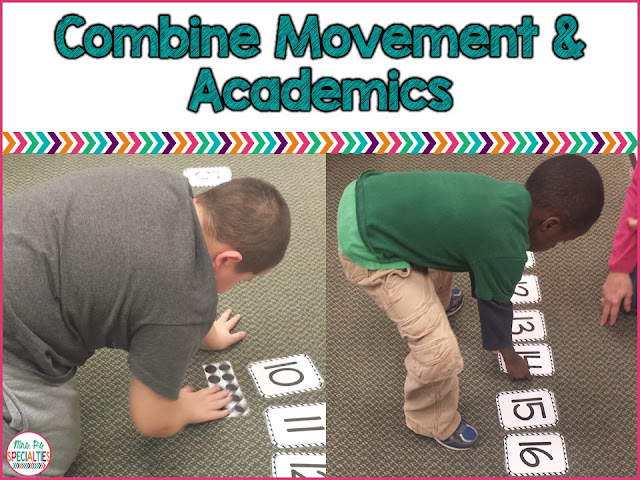 Combine movement and academics for improved focus and decrease off task behavior.