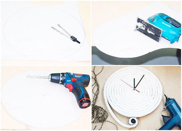 reloj, cuerdas, diy, manualidades, reloj de pared