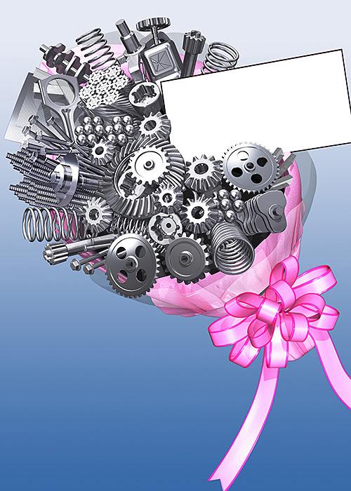 リアルイラスト、3DCG、歯車、ギア、ギヤ、コイル、スプリング、鉄製品、花束