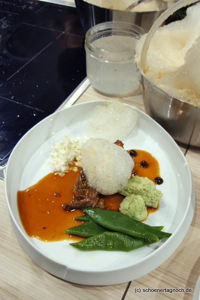 Lammhaxe aus dem Schnellkochtopf beim AEG Event auf der Slowfood Messe
