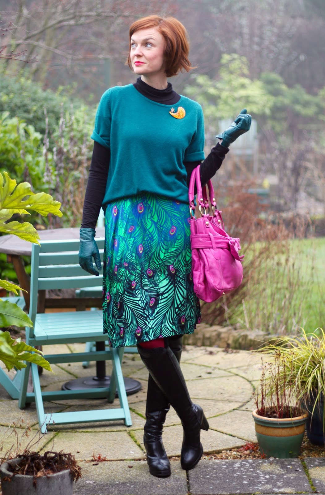 Peacock Wrap Dress as a Skirt | Teal & Hot Pink | Fake Fabulous