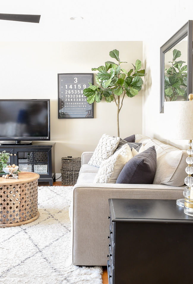 Modern farmhouse living room, fiddle leaf fig sale