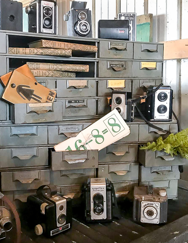 Industrial storage and vintage cameras
