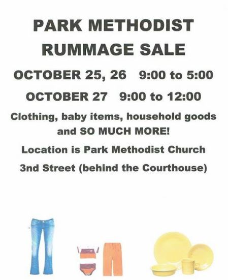 10-25/26/27 Park Methodist Rummage Sale