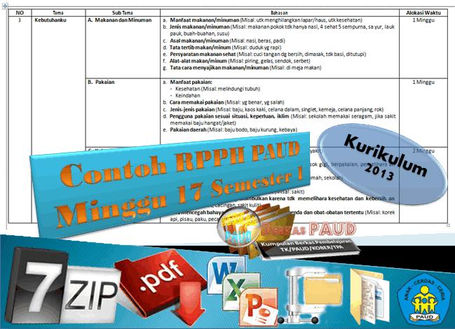 Download Berkas Contoh RPPH PAUD Minggu ke 17 Kurikulum 2013