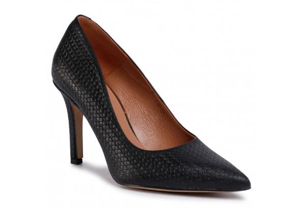 Pantofi femei negri din piele naturala cu toc subțire R.POLAŃSKI