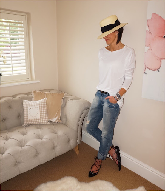 My Midlife Fashion, Monks on vacation white long sleeve slouch top, h and m panama straw hat, coco bay hipanmea tahiti bracelet, zara distressed boyfriend jeans, golden goose superstar trainers