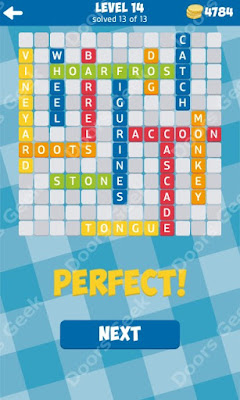Cheats, Solutions for Level 14 in 13 Word Connect by Second Gear Games