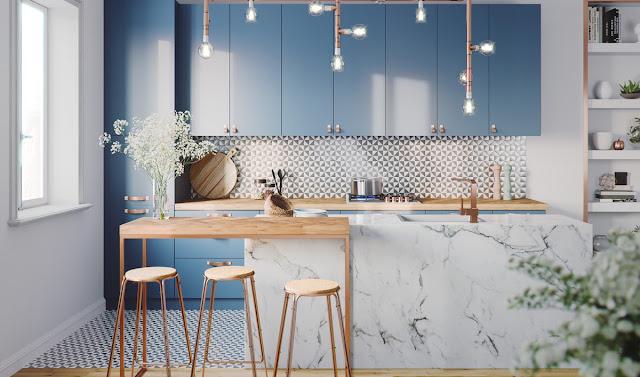 thiết kế nhà bếp tone màu xanh ấn tượng