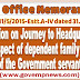 LTC : Journey to Headquarters on LTC in respect of dependent family members of the Government servant - DoPT Clarification