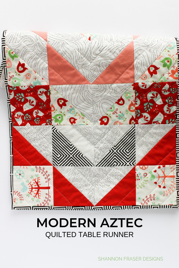 Modern Aztec Quilted Table Runner | Shannon Fraser Designs