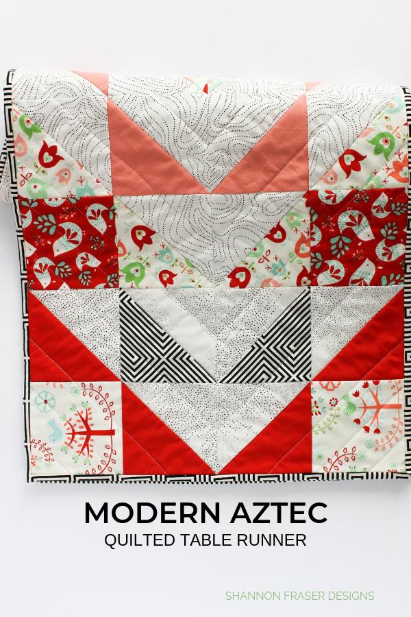 Modern Aztec Quilted Table Runner | Shannon Fraser Designs