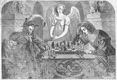Litografía con Satanás jugando al ajedrez contra un joven