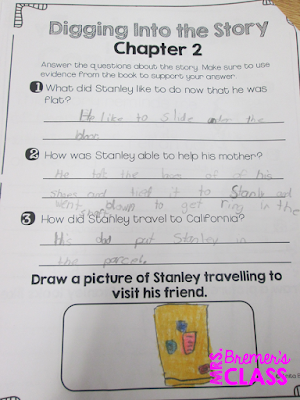 Flat Stanley book study companion activities for First Grade and Second Grade