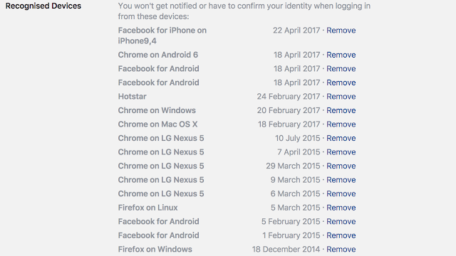 remove unrecognised devices in Facebook