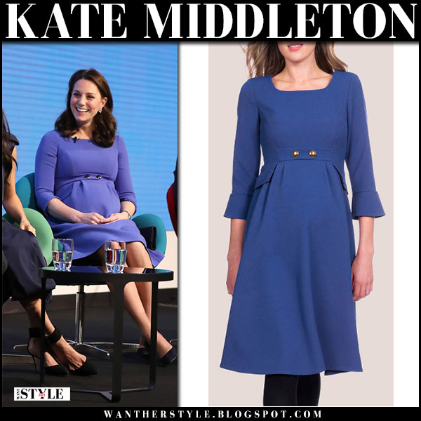 Kate Middleton in royal blue dress seraphine maternity fashion february 28