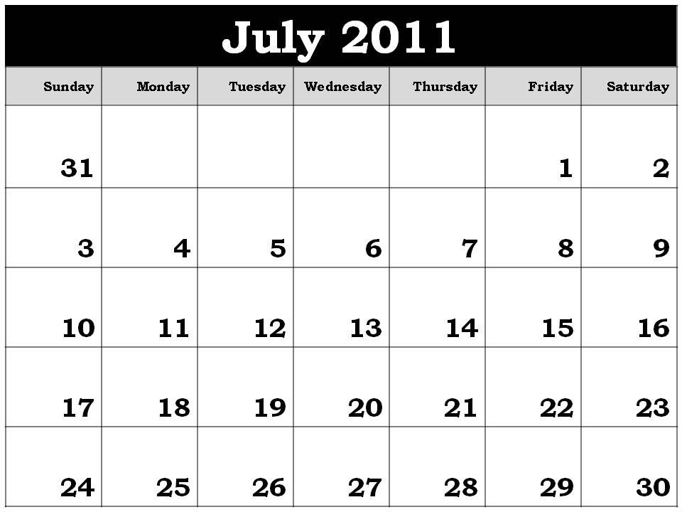 june july calendar 2011 - photo #18