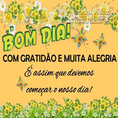 Bom Dia! COM GRATIDÃO E MUITA ALEGRIA É assim que devemos  começar o nosso dia!