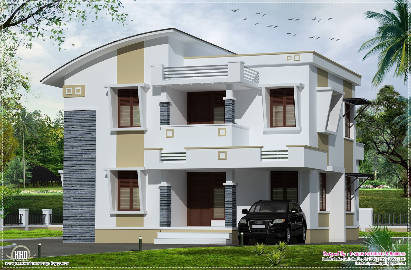 Simple flat roof home design in 1800 kerala home Small flat roof house