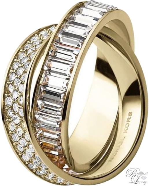 Brilliant Luxury ♦ Michael Kors Pavé-Embellished Gold-Tone Eternity Ring
