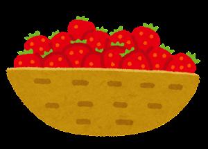 カゴに入った果物のイラスト(いちご)
