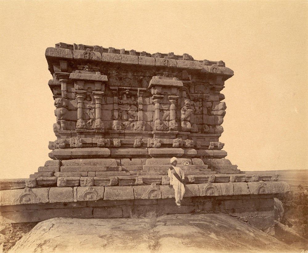 Olakkanatha Temple, a structural shrine above the Mahishamardini Cave Temple, Mamallapuram, Tamil Nadu - c.1885