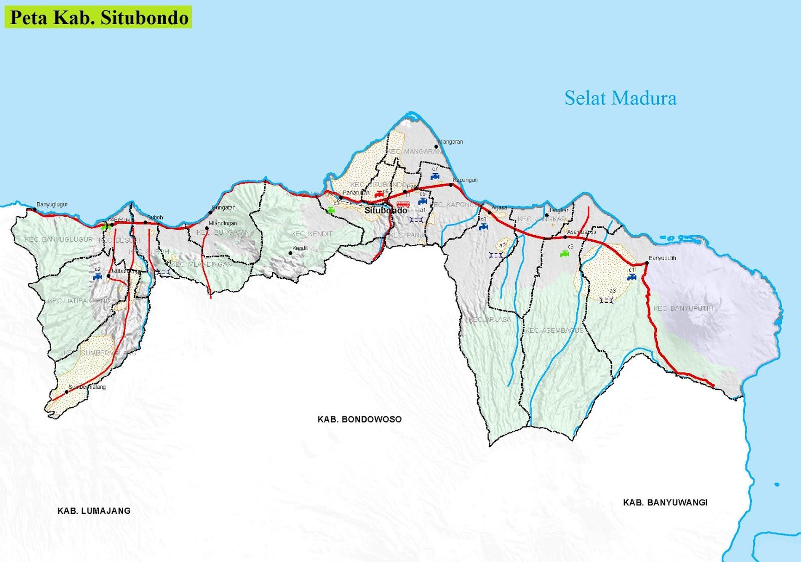 Peta Kabupaten Situbondo HD