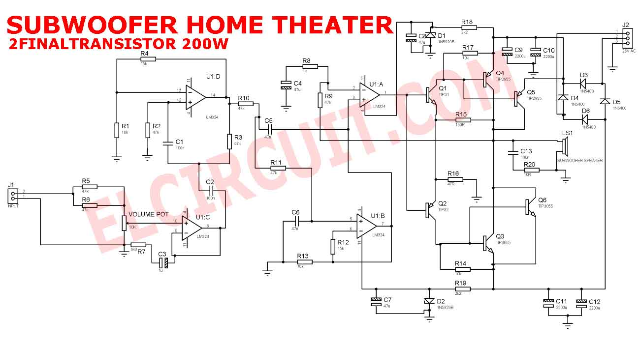 Subwoofer Home Theater Power Amplifier  Electronic Circuit