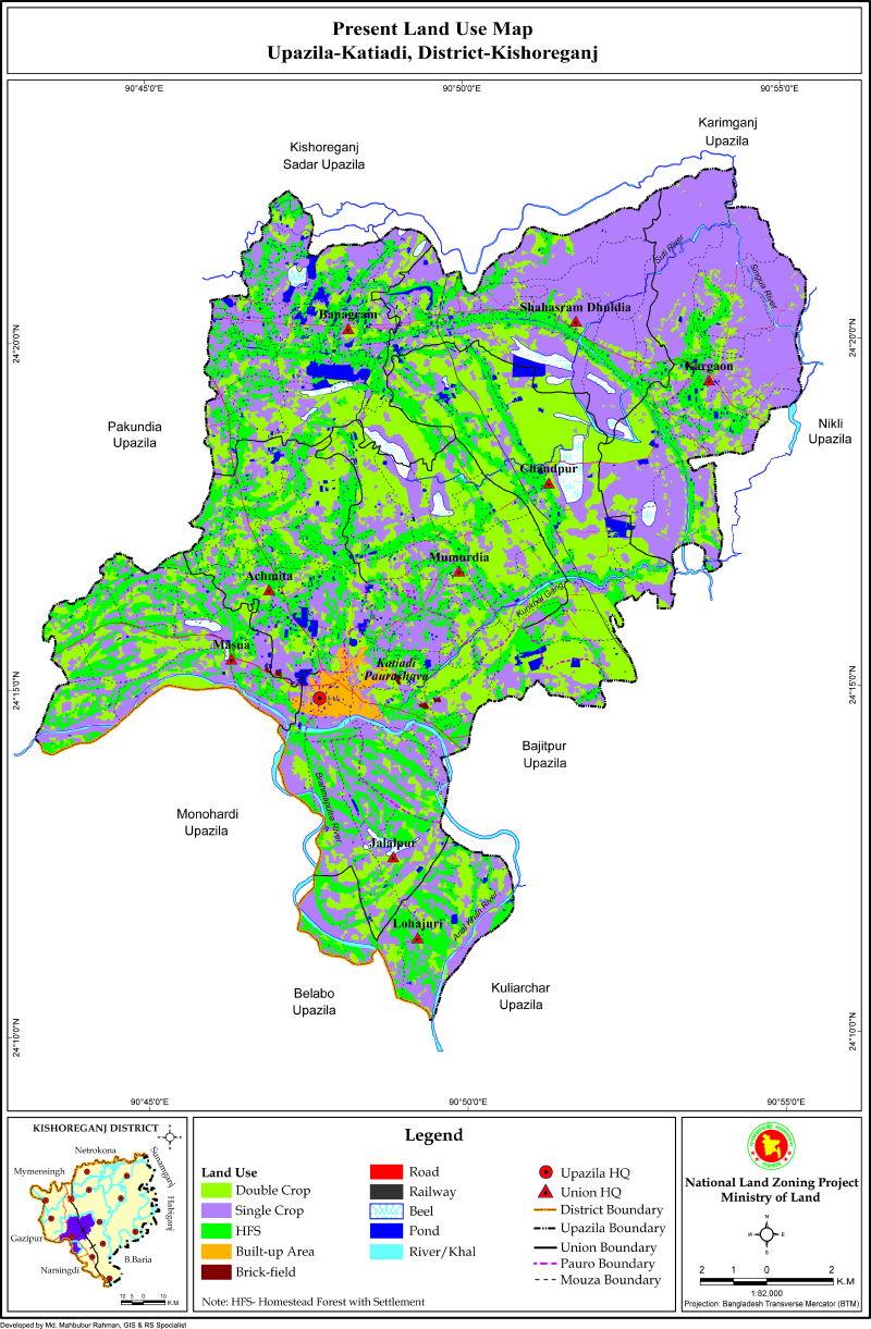 Katiadi Upazila Mouza Map Kishoreganj District Bangladesh