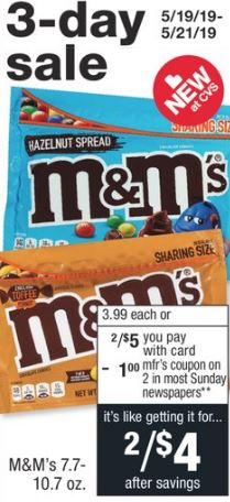 cvs couponers M&MS  deal 3 days only