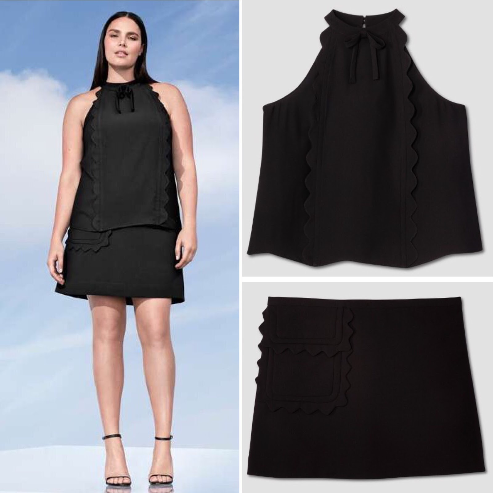 190f6287c3272 Black High Neck Scallop Trim Tank Top   26    Black Twill Skirt with Scallop  Trim Pocket   30