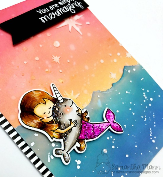 Mermaid Card by Samantha Mann | Narly Mermaids Stamp Set and Starfield Stencil by Newton's Nook designs #newtonsnook #handmade