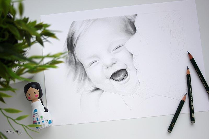 Retrato a lápiz de padre e hija