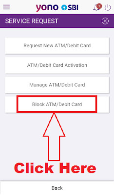 how to block sbi atm card online in sbi yono app