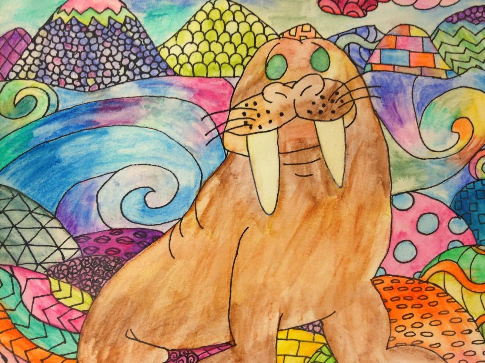7th Grade Art Zentangle Animals