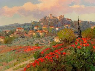 pueblos-y-casas-rodeados-de-flores-pintura