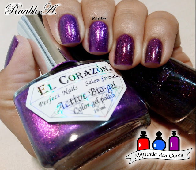 Roxo, El Corazón 423/554 Magic Attraction, Masura 1088 Euphoria, Holográfico, Glass Flecks, DRK Designer 1, Unhas Carimbadas, Raabh A. 2018,