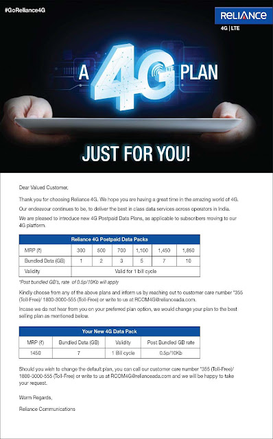 Reliance 4G Plans