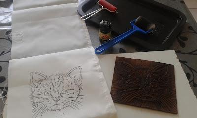 chat grave imprime sur tissu