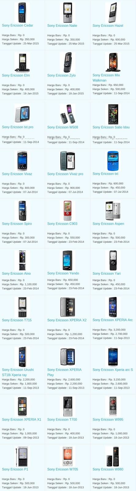 Daftar Harga Terbaru Hp Sony Ericsson Maret 2016